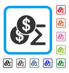 Money summary framed icon vector