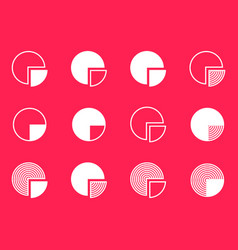 Pie chart diagram icons collection vector
