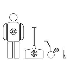 Snow removal the black color icon vector