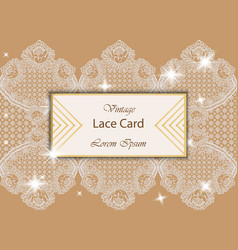 vintage lace card delicate handmade vector image vector image