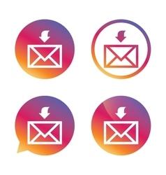 Mail receive icon Envelope symbol Get message vector image