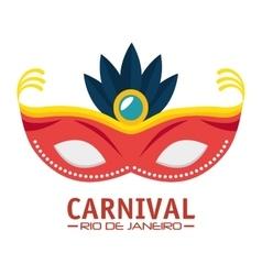 Carnival rio de janeiro mask blue feathers vector