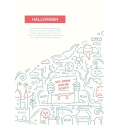 Halloween - line design brochure poster template vector