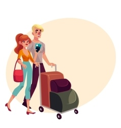 Man and woman travelling together going on vector