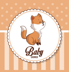 Baby shower card invitation greeting cute fox vector