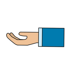 Stretched hand with formal suit vector