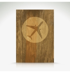 Airplane icon on wood texture vector