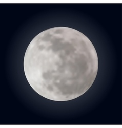 Realistic shining full moon in the dark blue sky vector