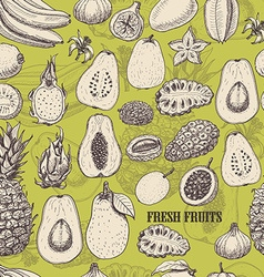 Seamless pattern with tropical fruits on light vector