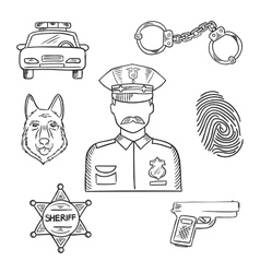 Police officer or policeman profession sketch icon vector