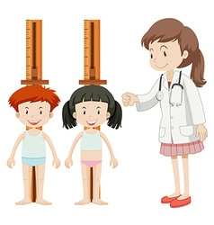 Boy and girl measuring height vector