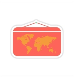 Paper sticker on white background world map vector