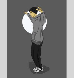A guy in a gray sweatshirt and dark gray trousers vector