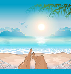 A person restsing on sea tropical beach vector