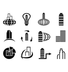 abstract company icons set vector image vector image