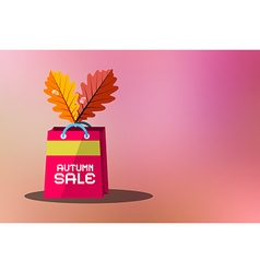 Autumn sale blurred pink background with shopping vector