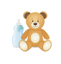 Bear is sitting with feeding bottle vector image vector image