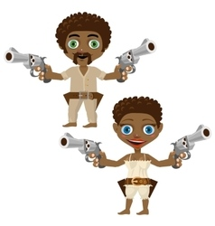 Black man and woman with guns two characters vector