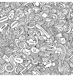 Cartoon hand-drawn doodles Internet social vector image