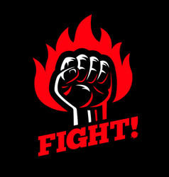 Clenched raised fist in fire on dark black vector