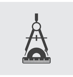 Compass and protractor icon vector
