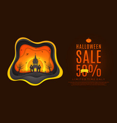 Design of web banner for halloween sale vector