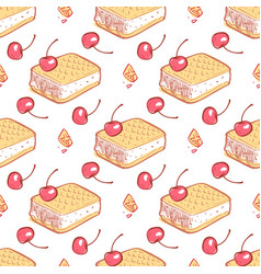 doodle waffels ice cream cherries seamless pattern vector image