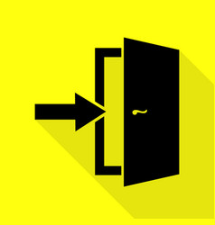 Door exit sign black icon with flat style shadow vector