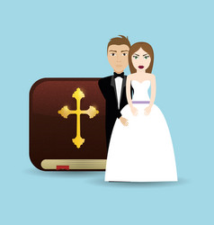 Get married couple bible card wedding vector