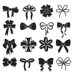 Gift decorative ribbon bow icons set vector image