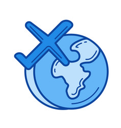 global traveling line icon vector image vector image