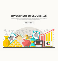 Investment in securities concept in flat design vector