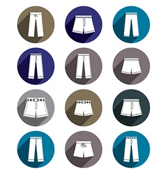 Man jeans and shorts icon set vector