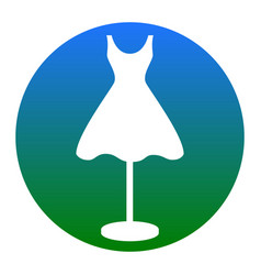 Mannequin with dress sign white icon in vector