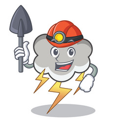 Miner thunder cloud character cartoon vector