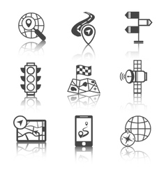 Mobile navigation icons black and white vector image