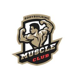 muscle club bodybuilding emblem logo vector image vector image