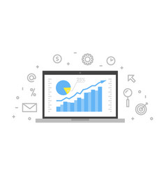 Online analytics concept line laptop with web vector