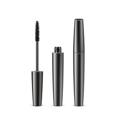 Opened closed black mascara on white background vector
