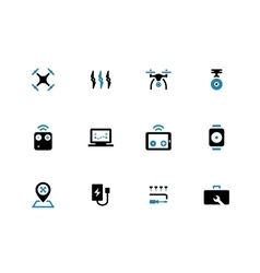 Quadcopter duotone icons on white background vector
