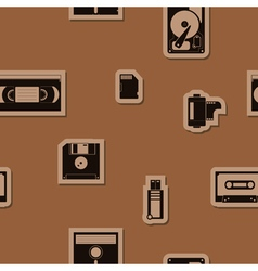 Seamless background with data storage icons vector