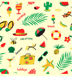 seamless pattern with summer beach objects vector image