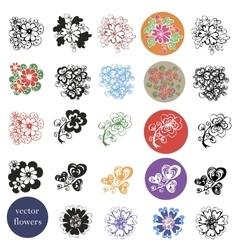 set of design of flowers vector image