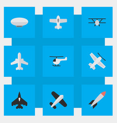 Set of simple aircraft icons vector