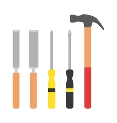 Set of wood processing tools hand equipment vector