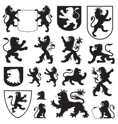 Silhouettes of heraldic lions vector