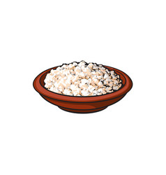 Sketch cottage cheese in ceramic brown pot vector