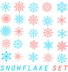 snowflakes set trendy linear style vector image vector image