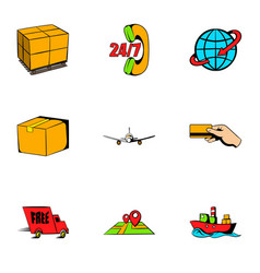 store icons set cartoon style vector image