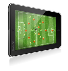 Tablet PC with Football Game vector image vector image
